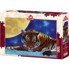 Art Puzzle 500 - Tiger in the moonlight