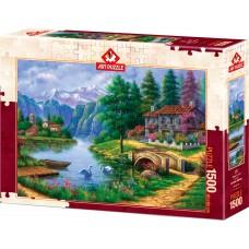 Art Puzzle 1500 - A village by the lake, Arturo Zaraga